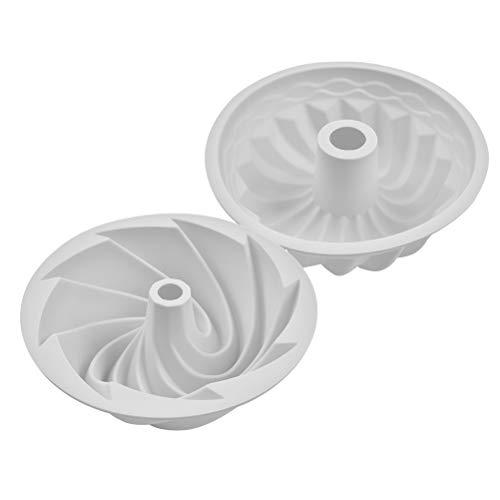 THETHO 2 pcs Molde Bizcocho Savarín de 6 pulgadas Molde para Pan Antiadherente Molde de Silicona de Calabaza y Espiral para Hornear Tarta Galletas (Gris)