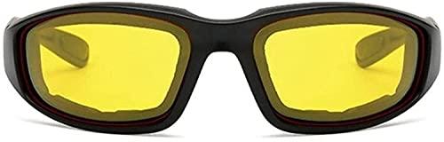 Gafas de sol para mujer a prueba de viento, para motocicleta, para hombre, retro, UV, motocicleta, para exteriores, esquí, ciclismo, equitación (color negro-amarillo, tamaño: talla única)