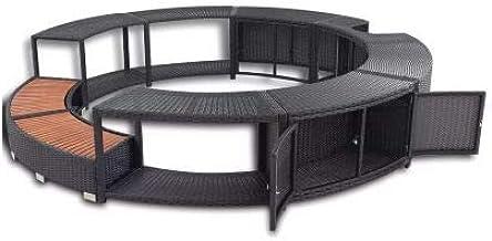 Ausla - Borde con espacio para jacuzzi (ratán Spa, resina trenzada, redonda, diámetro exterior 283 cm), color negro