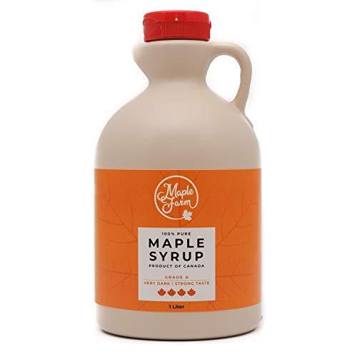 Jarabe de arce Grado A (Very dark, Strong taste) - 1 litro (1,35 Kg) - Miel de arce - Sirope de Arce - Original maple syrup