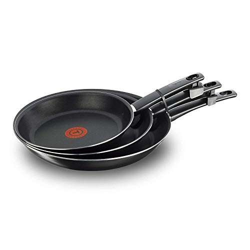 Tefal First Cook - Set de sartenes Negro Gas, Aluminio, Negro, 18/22/26 cm, Revestimiento antiadherente, cocina sana, mejor difusión del calor. Fabricado en Francia