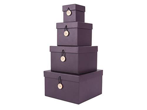 Present Time - Lot de 4 boîtes de rangement uniformes – Carton – Violet