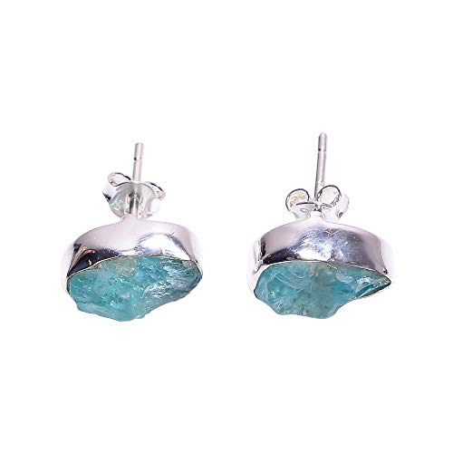 925 Sterling Silver Stud Earrings, Natural Raw Sky Apatite Gemstone Handcrafted Women Jewelry RSSE731