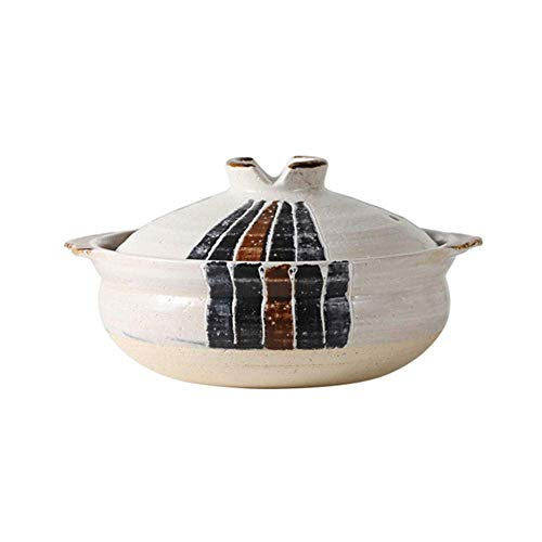 WZF Clay Casserole Stew Pot Ceramic Casserole - The interior is smooth and smooth strong and beautiful thick texture and easy to clean capacity 2.2L