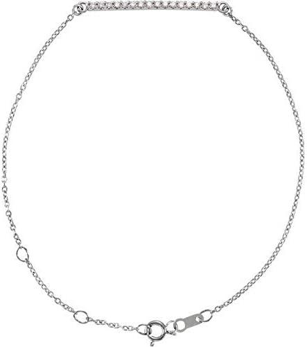 14K White Gold 1 8 CTW Manufacturer direct delivery Bracele Bracelet Accented trend rank Diamond Bar