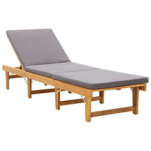vidaXL Akazienholz Massiv Sonnenliege Klappbar mit Auflage Gartenliege Relaxliege Holzliege Liege Gartenmöbel Klappliege Freizeitliege