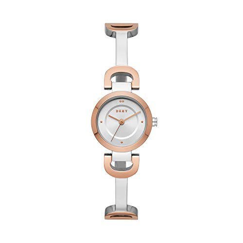 DKNY Women's City Link Quartz Stainless Steel Three-Hand Watch, Color: Silver/Rose Gold (Model: NY2749)