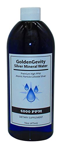 GoldenGevity Colloidal Silver - 4000 PPM Atomic Particle (16 oz.) 400 Times More PPM Than Other Products - Trace Mineral Colloidal Silver - Pure Mineral Supplement - High PPM Colloidal Silver