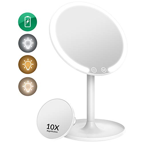 EASEHOLD Makeup Vanity Mirror Rechargeable with 3 Color 42 LEDs Dimmable Lights 1X/10X Magnifying 90°Rotation Cosmetic Beauty Portable Detachable Countertop Circle Tabletop Desk Face Mirror