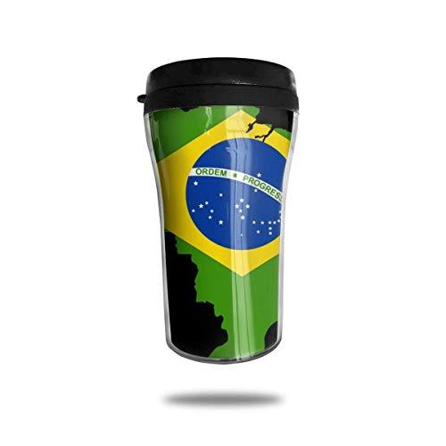 DJNGN Taza de café de viaje negra con mapa de la bandera...