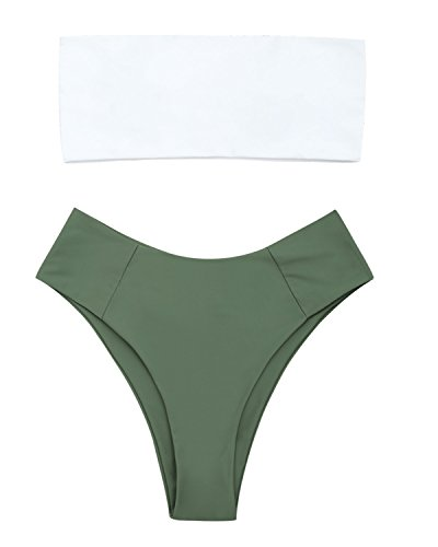 ZAFUL Womens Swimwear Two Pieces Solid Color High Cut Bandeau Bikini Set(Army Green L)