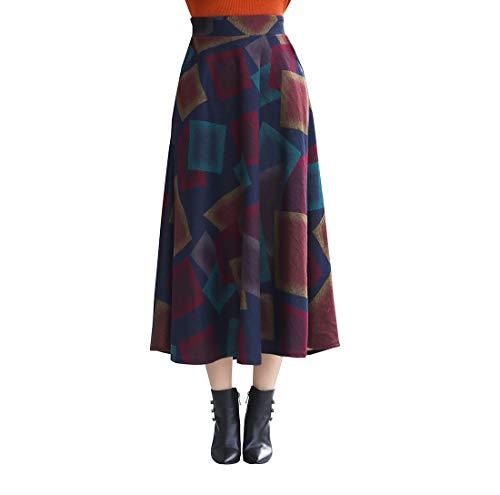 RIZ-ZOAWD Mujer Vintage Elegante Caliente Larga Falda de Lana Cintura elástica Maxi A-Line Otoño e Invierno Falda Falda Paraguas (M (Waist:68 cm), Cuadrado de Color)