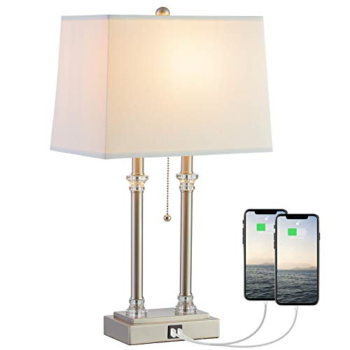 Unique Silver Crystal Table Lamp with Dual USB Ports Metal Base for Bedside Night Stand Table Top, White Shade Modern Living Room Lamps for End Tables Bedrooms Nightstand Bed Side