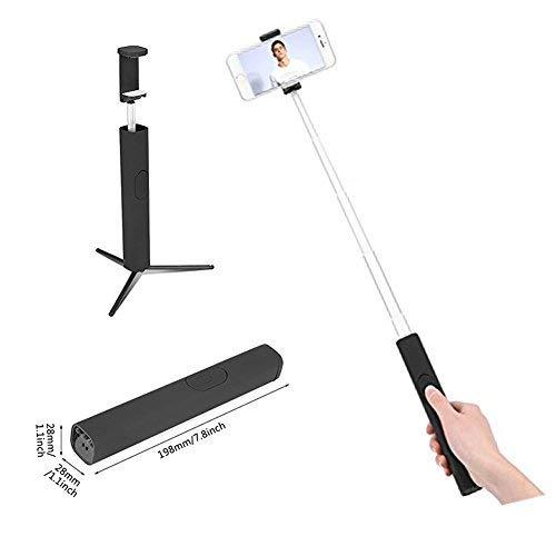 3 en 1 - Trípode invisible portátil con mando a distancia Bluetooth extensible, mando a distancia para Selfie Stick (negro)