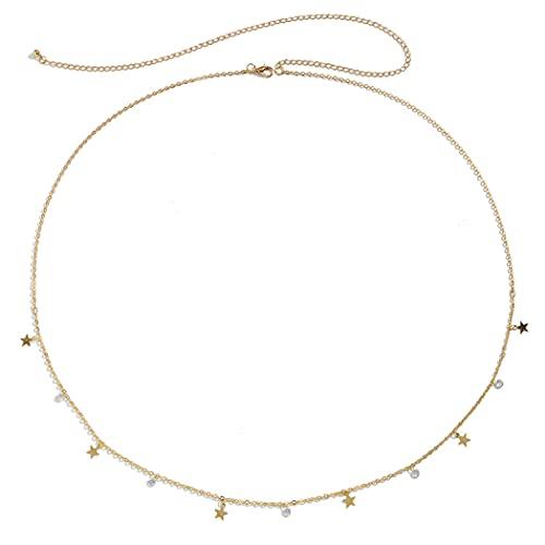 COSYOO Cadena para El Vientre Aleación De Estrella Elegante Moda Ajustable Decorativo Cintura Joyas Aleación Ligero Elegante Moda Cuerpo Ajustable