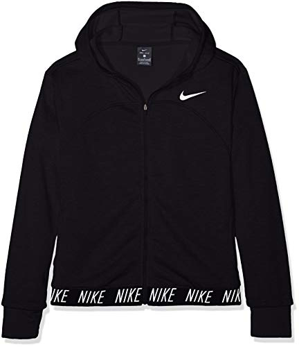 Nike G NK Dry Hoodie FZ Studio Chaqueta, Niñas, Negro (Black/White), M