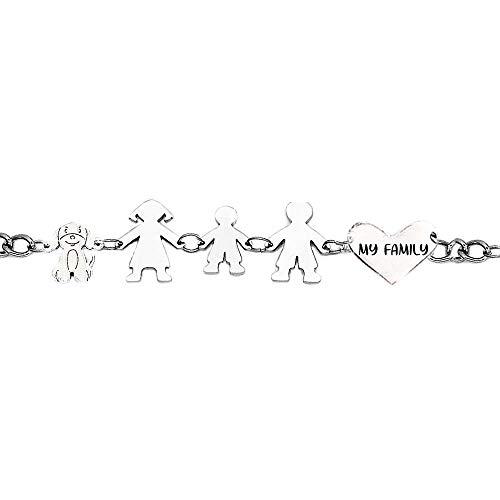 Beloved Bracciale Famiglia donna o unisex in acciaio - braccialetto varie composizioni - incisione nera My Family - (Silver, Genitori + bimbo + cane)