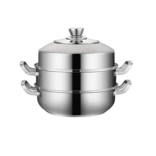 WZHZJ Todo Vapor del alimento Set - Acero Inoxidable Libre Veggie Vapor Vapor Pot inducción Ollas - Ollas cestas de Vapor de Vapor (Color : 28CM)