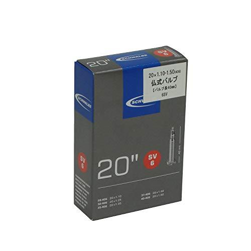 """Schwalbe Fahrradschlauch SV6 28/40-406 EK 40 mm, Schwarz, 20 x 1 1/8-1.50"""" SV"""