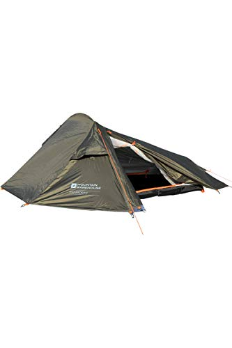 Mountain Warehouse 2 Man Backpacker Tent - Water Resistant, Fly Sheet Couple Tent, Groundsheet Sleeping Tent, Aluminium Poles, 1 Room Sun Shelter - For Camping, Festival Green