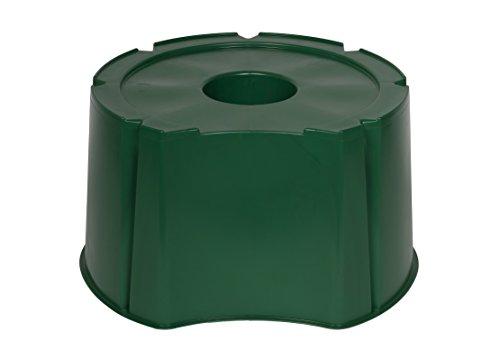 Robuster Monoblock Stand für Wassertonnen mit Volumen 200 / 300 Liter aus robustem Kunststoff in Grün. Maße außen Ø x H: 70 x 38 cm