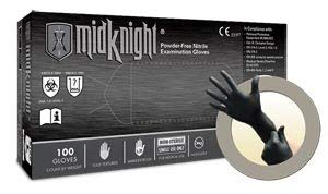 Microflex MK-296-M-Box Midknight Exam Gloves, PF Nitrile, Textured, Black, Medium (Pack of 100)