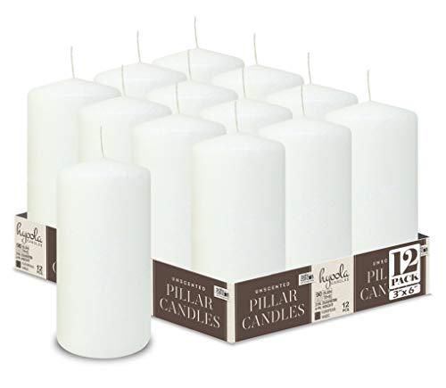 Hyoola Weiß Stumpenkerzen 76 X 152 mm - 12 Pack - 90 Stunden Brenndauer - Unparfümiert Groß Stumpen Kerzen