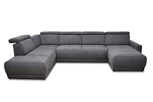 DOMO. collection AVA Sofa Wohnlandschaft mit Rückenfunktion in U-Form, Polsterecke Eckgarnitur, anthrazit, 167x351x223