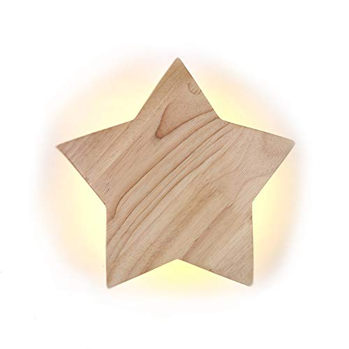 LED Holz Star Wandleuchte Modern Kreativ Karikatur Wandlampe Nachtlicht Nachttischlampen für Baby Schlafzimmer Wohnzimmer Flur Loft Wall Lampe Deckenleuchte 3000K warm Licht, D22CM