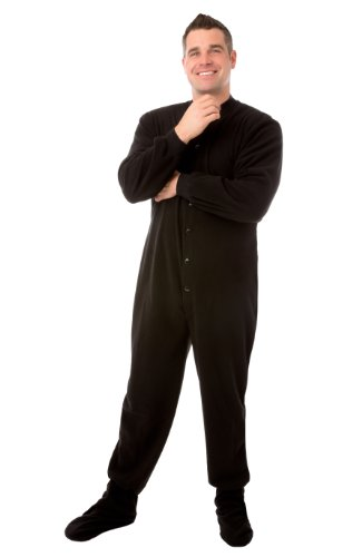 Big Feet Pyjama Co Pijamas Micropolar adulto patas pijamas con Bum-aleta Grandes Negro