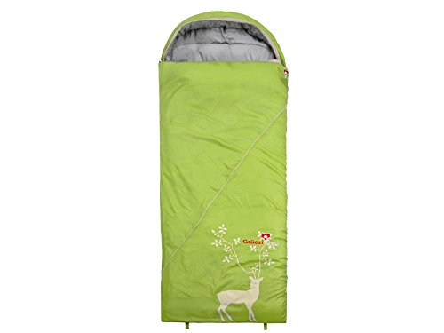 Grüezi-Bag Cloud Decke REH III Rechts Schlafsack, Synthetik-Füllung, sehr weich, 225 x 80 cm, 1250g, Packmaß Ø 19 x 32 cm, Camping/Hütte/Zelten, grün