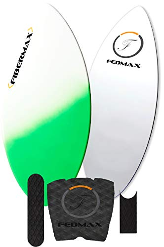 Fedmax Skimboard with Carbon Fiber Tips and Fiberglass Body Hybrid | with Traction Grip Set | Ultimate Tips Manual (Green, 48 in. (130lbs. to 160lbs.))
