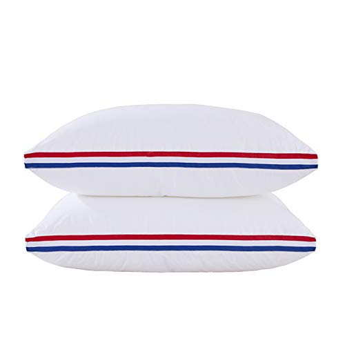 HIG 100% Cotton Gusseted Bed Pillow-18x36 Inch-2 Pack-Memory Fiber Filled-SkinFriendly & Breathable-Machine Washable-Oblong Standard-Right Firmness for Side,Stomach and Back Sleepers