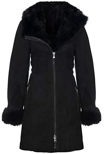 Infinity Leather Damenjacke Aus Schwarzem Wildleder Mit Kapuze Und Lammfell Aus Lammfell Von Toscana L