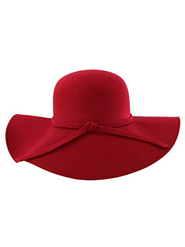 Red Wide Brimmed Wool Floppy Hat