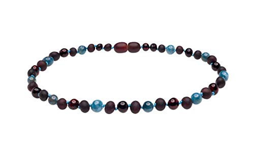 Genuine Amber Necklace from Baltic Sea Made with Unpolished Cherry Polished Cherry and Apatite 34 cm (13.4 Inches)