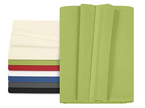 npluseins Betttuch - Haustuch - Bettlaken - aus 100% Baumwolle in 7 ausgesuchten Farben - Laken ohne Gummizug - Einheitsgröße von ca. 150 x 250 cm, grün