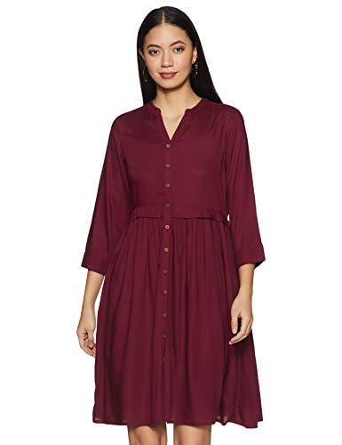 AND Womens Mandarin Collar Solid Shirt Dress