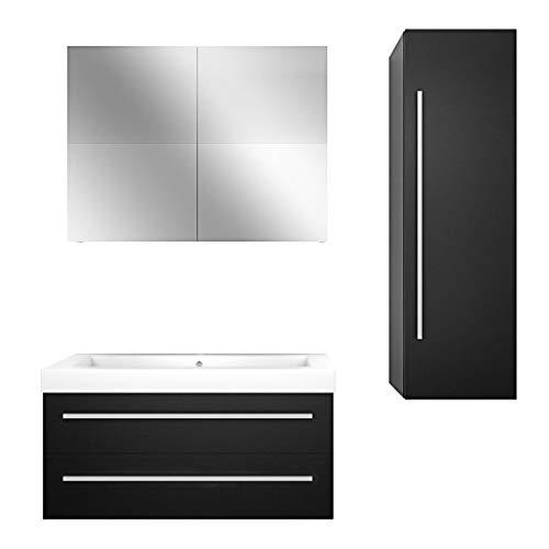 AcquaVapore Badmöbel Set City 101 V3 Esche schwarz, Badezimmermöbel, Waschtisch 100 cm JA mit 1x 5W LED / 1x Energiebox