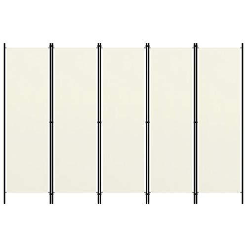 vidaXL Biombo Divisor de 5 Paneles de Pie Plegable Separador Habitación Dormitorio Estancia Decoración Partición Privacidad Blanco Crema 250x180 cm