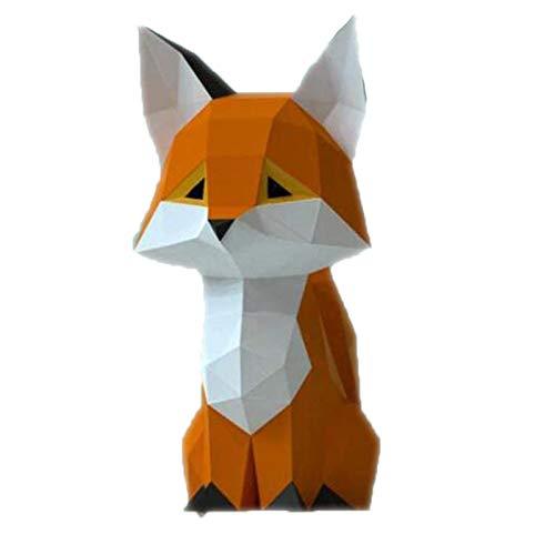 Cestbon Origami Wanddekoration DIY-Wand-Papier-Trophäe DIY Papierhand Karton Tier 3D Wanddekoration Papier Statue Mauerdekoration Papier Spielzeug Handwerk Aktivität,Orange