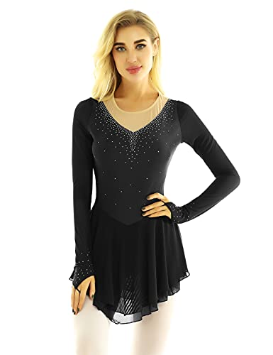 ranrann Vestido de Patinaje Artístico Diamantes para Mujer Maillot de Ballet Manga Larga Leotardo de Gimnasia Rítmica con Falda Traje Bailarina Negro C XS
