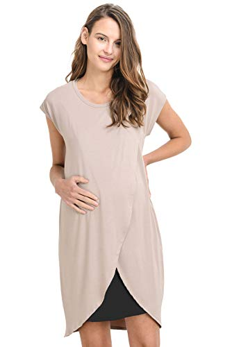 Product Image of the Hello Miz Color Block Asymmetrical Breastfeeing Maternity Nursing Dress...