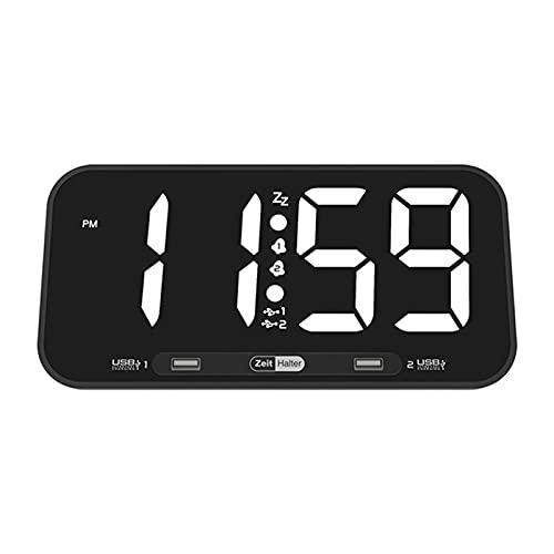 Reloj Despertador electrónico LED de Pantalla Grande, Doble Carga Sub, Reloj de Tiempo de Escritorio para Sala de Estar, Cocina, Dormitorio
