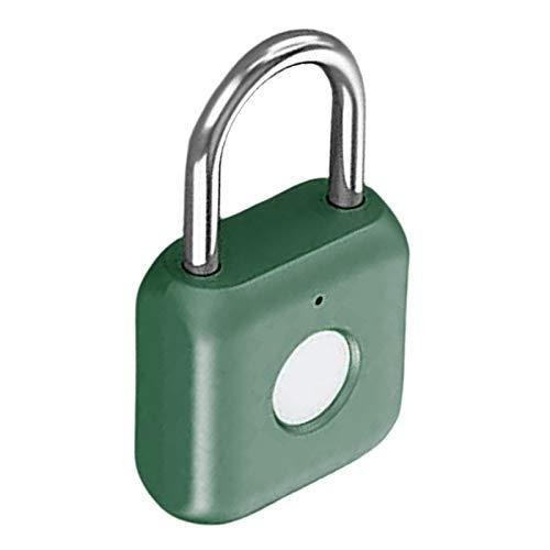 Fenteer Fingerprint Padlock, Waterproof Ultra Light One Touch Open Fingerprint Lock with USB Charging for Gym, Sports, School Employee Locker,Fence, Suitcase - Green