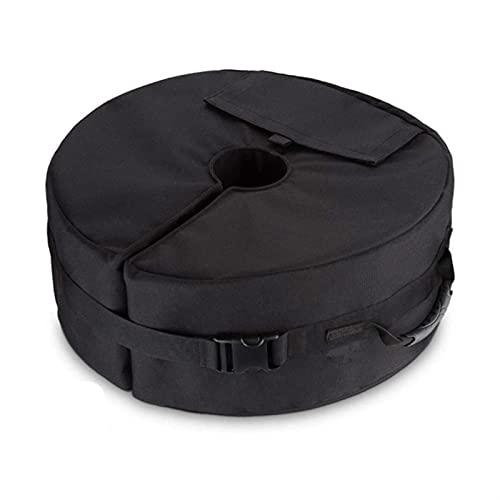 wangshang Soporte de sombrilla fijo con bolsa de arena, soporte para paraguas, bolsa de contrapeso, redonda, resistente al viento, soporte fijo, tienda de campaña anticolapso, color negro, con asa