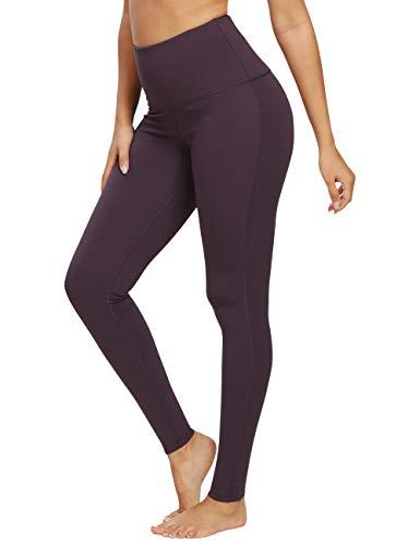 QUEENIEKE Damen-hohe Taillen Yoga Leggings Hosen Trainings Strumpfhosen laufen Dunkellila L