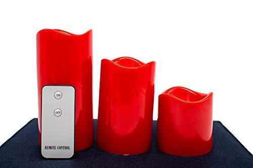 Juego de 3 velas LED de plástico con mando a distancia, románticas velas LED rojas, velas de amor (color: rojo)