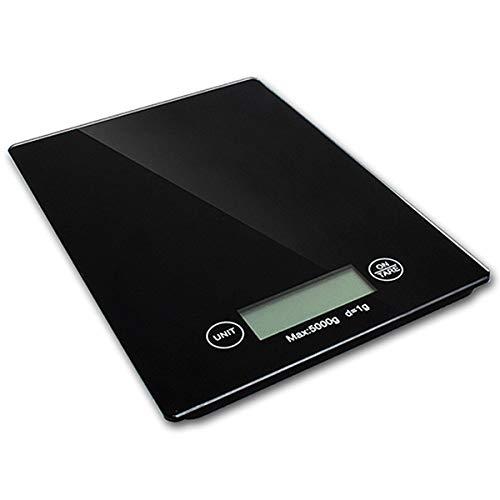 NEMISO デジタルスケール 電子秤 デジタル はかり コンパクト 小型 超薄型 デジタルはかり 液晶 ディスプレイ 風袋引き機能 オートオフ 強化ガラス 1g 5kg 高精度 測量 計量 単四電池タイプ (ブラック)