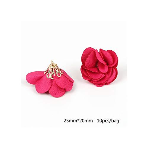 16 Farben 25 * 20mm kleine Perlen-Korn-Buckle Torch Gold Bell umklammert Blume Quaste Anhänger für Schlüsselanhänger Bekleidungszubehör, Fuchsia